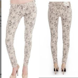 Miss Me beige lace floral print skinny jeans pants